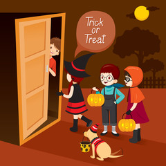 Trick Or Treat, Children And Man Open Door, Mystery, Holiday, Culture, Halloween, Decoration, Fantasy, Night Party