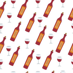 Red wine bottle and glass seamless texture. Wine background wallpaper. Vector illustration
