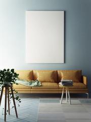 Mock up poster, interior composition, 3d illustration