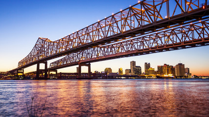 Crescent City Connection Bridge & New Orleans City Skyline at Ni