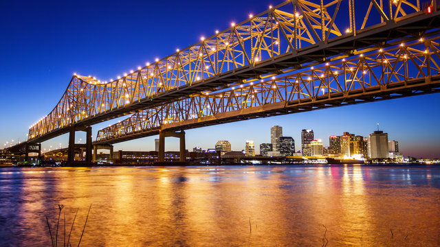 New Orleans City Skyline & Crescent City Connection Bridge at Night