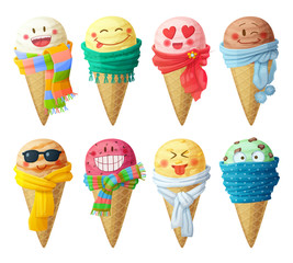 Set of cartoon vector icons isolated on white background. Ice cream scoops characters. Funny faces with scarf, smiling