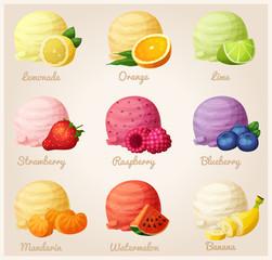 Set of cartoon vector icons. Ice cream scoops with different fruit flavors. Lemon, orange, lime, strawberry, raspberry, blueberry, mandarine, watermelon, banana