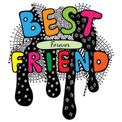 Lettering Best friend forever with abstract pattern