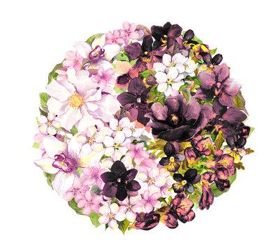 Yin yan, ying yang symbol with flowers. Watercolor