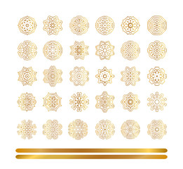 Oriental gold pattern. Golden snowflakes set