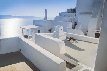 white houses with beautiful street view in Greece, Santorini, Sunny day