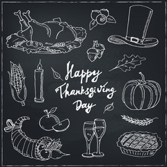 Happy Thanksgiving Day. Hand Drawn Holiday Design isolated Elements Set