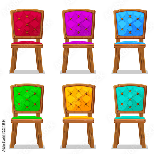 Quot cartoon colorful wooden chair in vector object stock