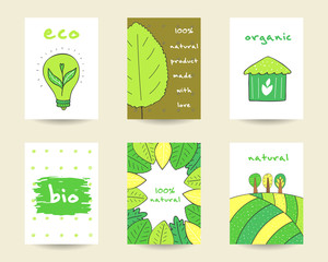 Cute hand drawn doodle eco, bio, nature cards
