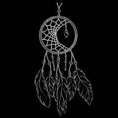 Monochrome ethnic hand made feather dream catcher vector