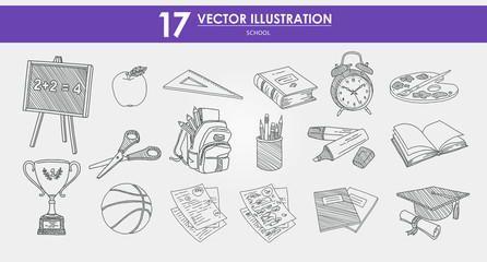 HAND-DRAWN vector illustrations set - school vol.1