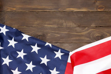 American flag wooden background.The Flag Of The United States Of America. The place to advertise, template.The view from the top.Happy holiday USA.