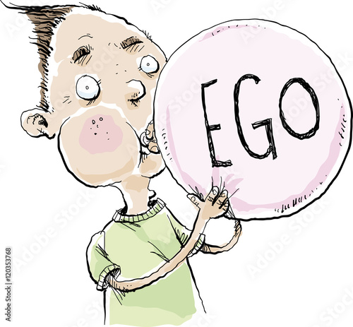 """""""A Cartoon Man Blowing Up A Balloon With The Word 'EGO"""