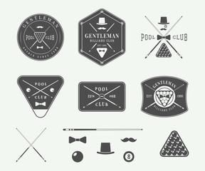 Set of vintage billiard labels, emblems and logos. Graphic Art.