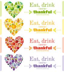 Thanksgiving food banner set with heart icons. Seasonal greeting card design template. Fruit, vegetable vector illustration. Fruits - orange, strawberry, grapes. Vegetables - paprika, carrot, basil