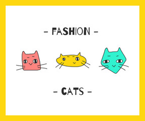 Creative graphics set of vector illustration with hand-drawing cats.