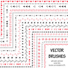 Hand drawn decorative vector brushes with inner and outer corner tiles. All used pattern brushes are included in brush palette. Hand drawn ink brushes, dividers, borders, ornaments.