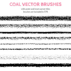 Hand drawn decorative vector brushes with inner and outer corner tiles. All used pattern brushes are included in brush palette. Hand drawn ink brushes, dividers, borders, ornaments. Coal illustration.