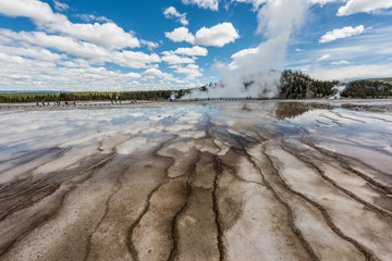 Wide angle closeup of bacterial patterns in the Grand Prismatic Spring in the Midway Geyser Basin of Yellowstone National Park, Wyoming