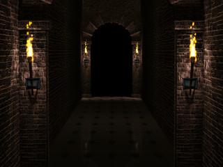 Dark castle corridor 3d illustration