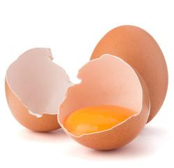 Broken egg in eggshell half and raw egg isolated on white backgr