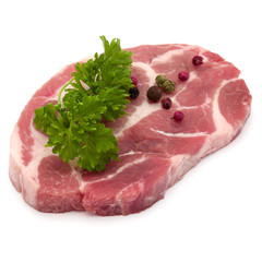Poster Pierre, Sable Raw pork neck chop meat with parsley herb leaves and peppercorn