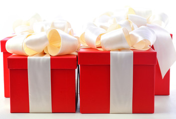Bright red festive gift boxes