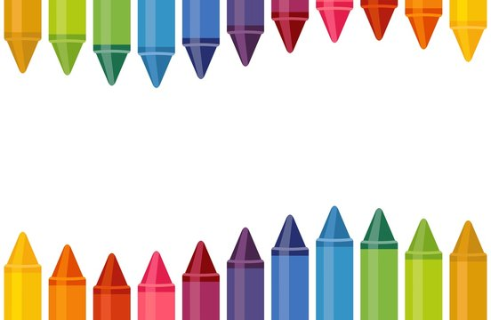 Close up colored crayons with empty space isolated on white background