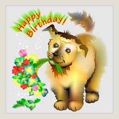 Greeting card with cute puppy holding bouquet of flowers, vector cartoon image.