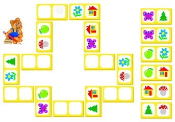 Logic puzzle for children. Draw the pictures from remaining dominoes at the correct places to close the circuit. Vector image.