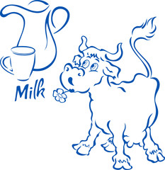 Funny cow with a jug and cup of milk, in cartoon style, on separate layers, isolated on white background.