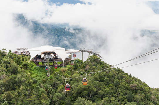 Cable car at view point of Langkawi Sky Bridge in Langkawi, Mala