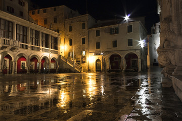 Sibenik square at night