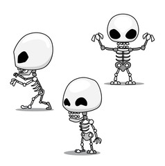 Halloween Character Set Cute Skeleton Cartoon Vector Illustration Stroke