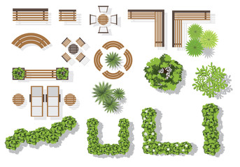 set of vector wooden benches and treetop symbols collection for landscaping top view - Garden Furniture Top View Psd