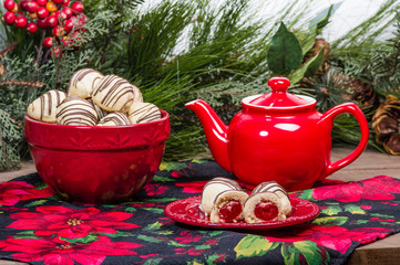 Festive holiday filled cookies and tea