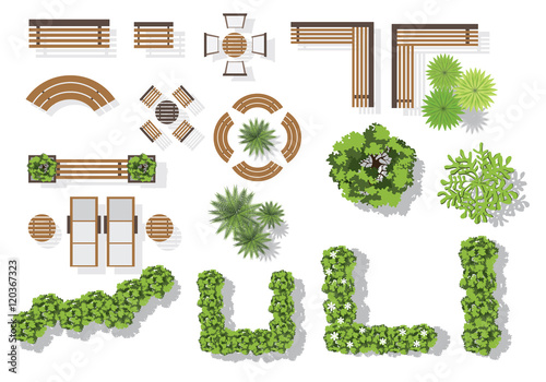 U0026quot;Set Of Vector Wooden Benches And Treetop Symbols. Collection For Landscaping Top View Plan ...