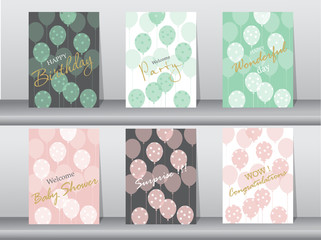 Set of birthday cards,poster,template,greeting cards,sweet,balloons,Vector illustrations