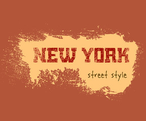 T shirt typography graphics New York. Athletic style NYC. Fashion american stylish print for sports wear. Grunge emblem. Template for apparel, card, poster. Symbol of big city. Vector illustration