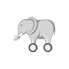 Toy elephant on wheels icon in black monochrome style isolated on white background. Childrens toy symbol vector illustration