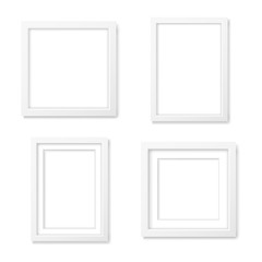 Set of white blank realistic frames mockup
