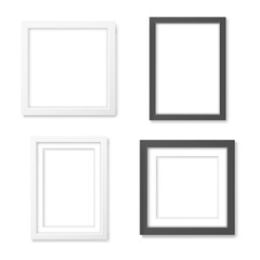Set of black and white blank realistic frames mockup