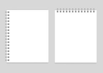 Blank realistic spiral notebooks mockup