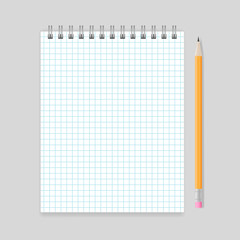 Blank realistic spiral squared notebook mockup with pencil