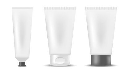 Set of blank realistic tubes of cream