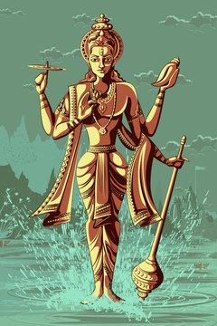 Indian God Vishnu giving blessing