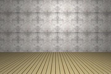 3d Raum mit Holzboden und Tapete an der Wand
