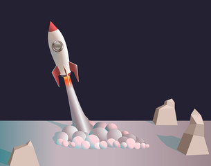 background, illustration, launch missiles, stones