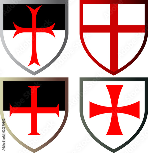 Shields Of Templar Knights Vector Icons Isolated Stock Image And